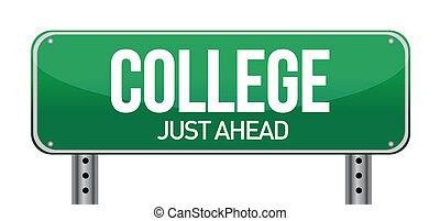 retfærdig, ahead, tegn, læreanstalt, grønne, vej