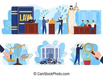 retfærdighed, folk, vektor, lov, sæt, gårdsplads, begreb, illustrationer