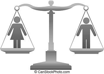 retfærdighed, lighed, køn, skalaer, køn