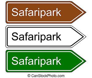 retning, park, safari, tegn