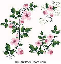 retro blomstrer, baggrund, blomstrede, vektor