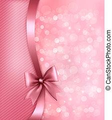 ribbon., avis, gamle, baggrund, ferie, gave, vektor, bøje sig, lyserød