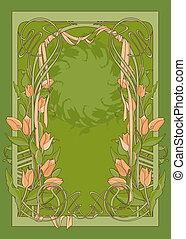 ribbon., deco, kunst, tulipaner, vektor, skabelon, plakat