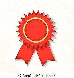 ribbon., vektor, emblem, rød, kendelse