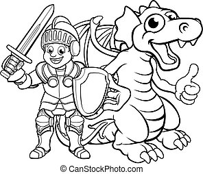 ridder, cartoon, drage