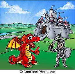 ridder, slot, cartoon, drage