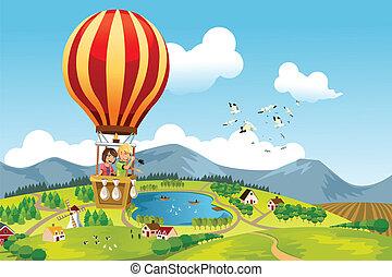 ride, hede, børn, balloon, luft