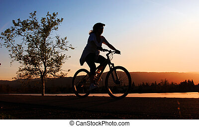 ride, kvinde, bike