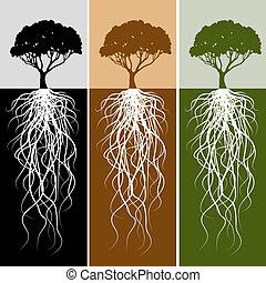 rod, sæt, banner, vertikal, træ