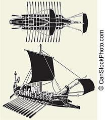 romersk, ancient, skib