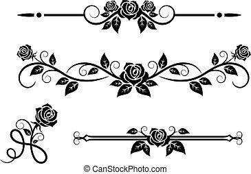 rose, blomster, elementer, vinhøst