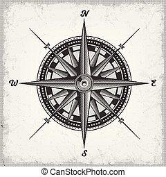 rose, hvid, sort, kompas