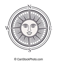 rose, konstruktion, kompas