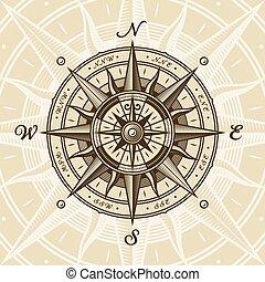 rose, nautiske, vinhøst, kompas