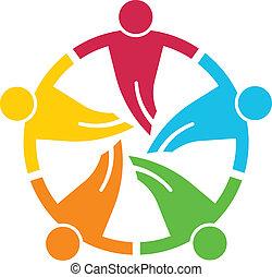 round., gruppe, folk, 5, v, teamwork