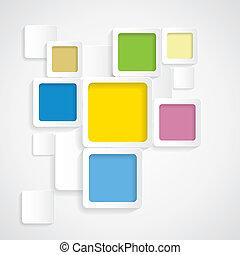 rounded, farverig, graphi, -, vektor, baggrund, kanter, kvadraterer