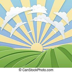 rulle, himmel, bakkerne, firmanavnet, håndværk, avis, solopgang, felt