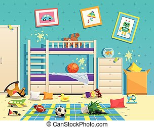 rum, interior, messy, børn