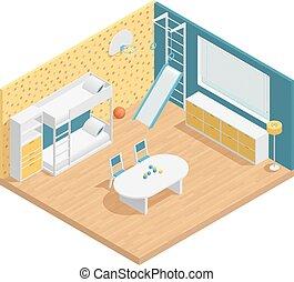 rum, komposition, børn