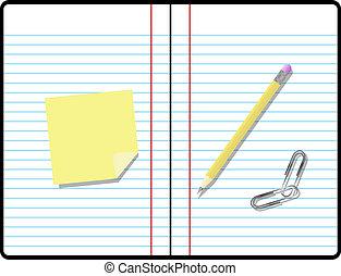 rum, tekst, klæbrig notere, notesbog avis, komposition, din, blyant