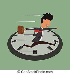 rush, illustration., hopper, stueur, time, tid, løb, vektor, forretningsmand, cartoon, hen