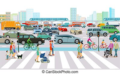 rush, trafik, stor, time, city.eps
