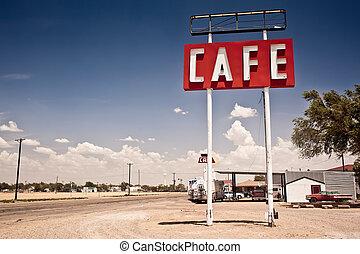 rute, tegn, historiske, 66, texas., langs, cafe