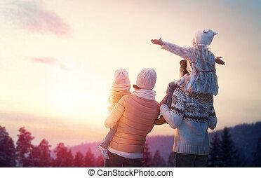 sæson, familie, vinter