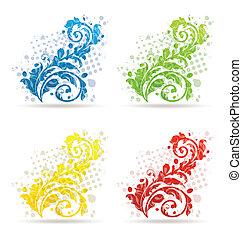 sæsonprægede, sæt, farverig, isoleret, fire, blomstrede