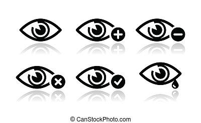 sæt, øje, iconerne, -, vektor, sigt