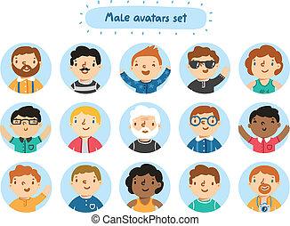 sæt, 15, avatars, bogstaverne, mandlig