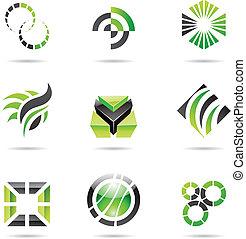 sæt, abstrakt, iconerne, grønne, 9, adskillige