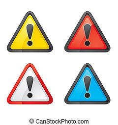sæt, advarsel, hazard, opmærksomhed, tegn