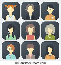 sæt, ansigter, kvindelig, iconerne