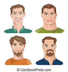 sæt, avatars, stylized, vektor, kvindelig, mandlig