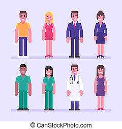 sæt, businesswoman, doktor., karakter, guy, forretningsmand, pige, sygeplejerske