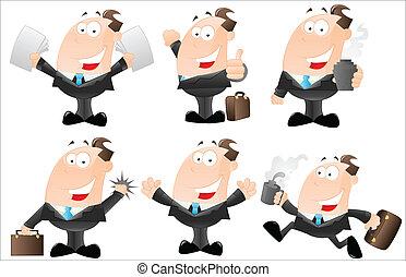 sæt, cartoon, forretningsmænd