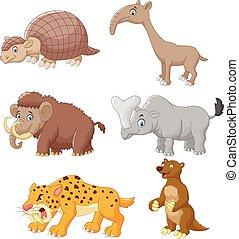 sæt, cartoon, samling, dyr