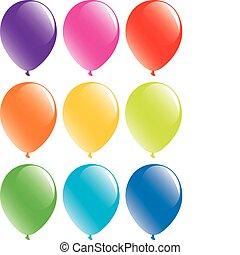 sæt, colorful balloner