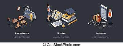 sæt, compositions, format., farverig, 3, lærdom, illustration, undervisning, isometric, studerende, audio, vektor, tuition, honorarer, eller, eleverne, frigi', distantly, betalinger, indstudering, bøger, concept., online