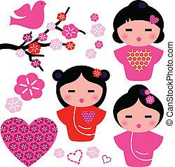 sæt, constitutions, geisha, isoleret, elementer, blomstrede, japan hvide