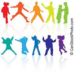 sæt, dansende, farvet, reflektion., teenagere, springe, silhuetter, vektor, poser