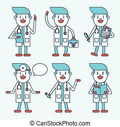 sæt, doktor, karakter, illustration, cartoon, design.