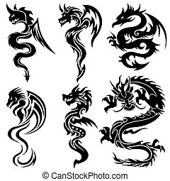 sæt, drager, kinesisk, stamme