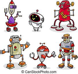 sæt, droids, robotter, illustration, cartoon, eller