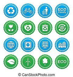 sæt, eco, etiketter, -, økologi, grønne