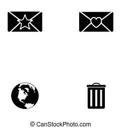 sæt, email, ikon