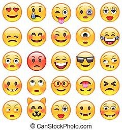 sæt, emoticons., emoji