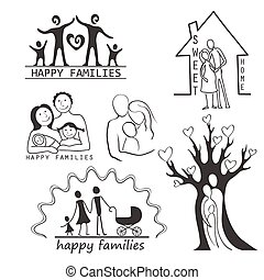 sæt, familie, iconerne, editable, konstruktion, din