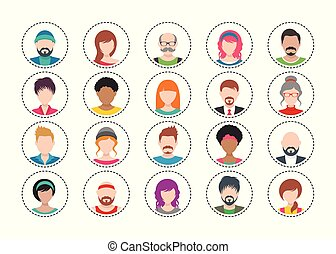 sæt, farverig, folk, tyve, iconerne, vektor, avatar